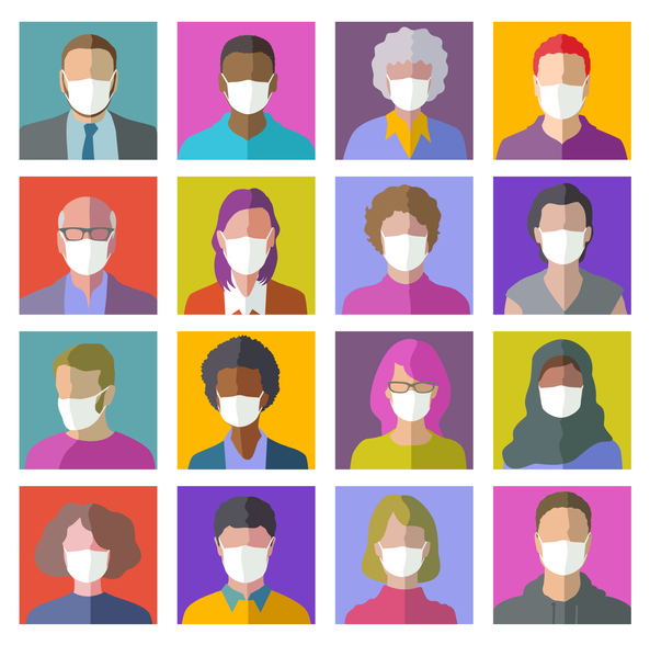 16 colorful head profile icons wearing face coverings to help prevent COVID-19